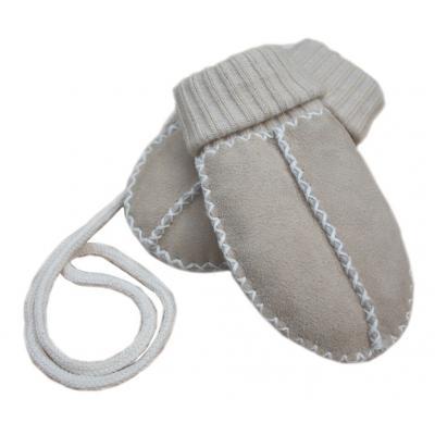 Baby-Lammfell-Handschuhe Fäustlinge sand