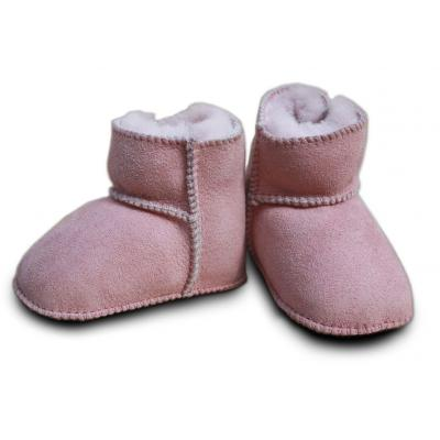 Heitmann Babylammfellschuhe mit Klettverschluss rosa