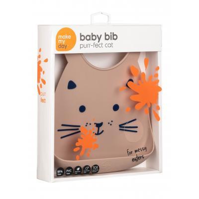Babylätzchen Katze Make My Day superweiches Silikonlätzchen