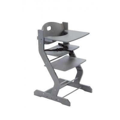 Tissi Hochstuhl grau mit Gurt Brustbügel und Tischplatte