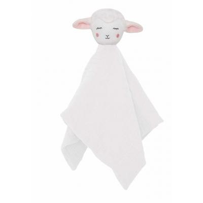 Schmusetuch, Schnuffeltuch Lamm Kuscheltuch weiß aus Baumwolle