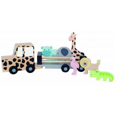 Jeep mit 6 Safaritieren aus Holz für die große Dschungelsafari