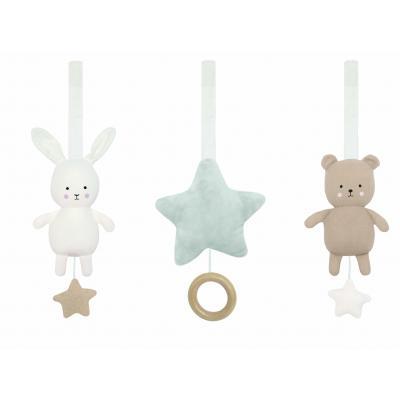 Anhänger für Babygym Spieltrapez 3 Figuren Hase Stern und Teddy