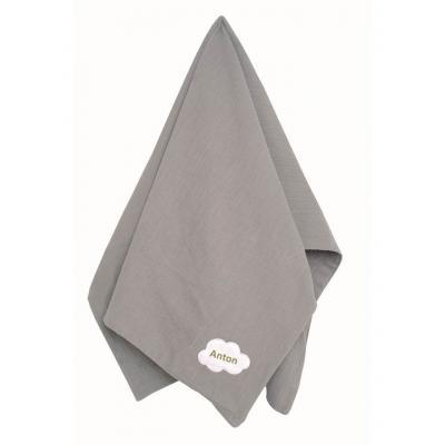 Personalisierte Babydecke Schmusedecke 100 % Baumwolle soft muslin in grau