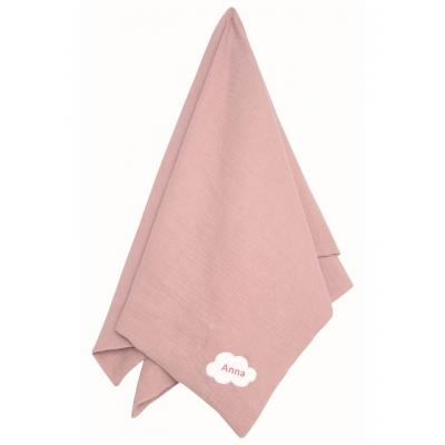 Personalisierte Babydecke Schmusedecke rosa Baumwolle soft muslin