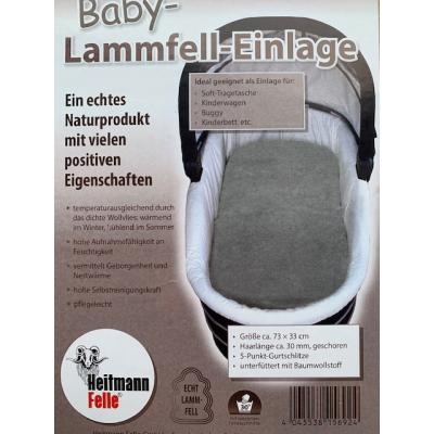 Heitmann Lammfelleinlage für Kinderwagen echtes Lammfell grau